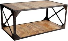 Vintage Up cycled Industrial Coffee Table with Shelf Metal and Wood by Verty furniture