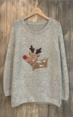 Chiristmas Adorable Heathered Deer Side Slit Pullover Sweater