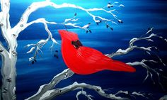 Red Cardinal - Paint Party ...an amazing winter for cardinals in New England!  www.cricketseye.com