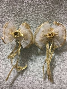 Items similar to 2 Gold Hair Bows With Tail Streamers on Etsy Gold Hair Bow, Handmade Hair Bows, Streamers, Gold Beads, Gold Glitter, Heavenly, Sparkle, Brooch, Etsy