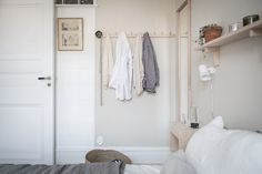 Bedroom inspiration at Haga Nygata Come visit tomorrow! Dream Bedroom, Home Bedroom, Bedrooms, Salons Cottage, Scandinavian Interior Bedroom, Small Studio Apartments, Eclectic Furniture, Cottage Living Rooms, Minimal Home