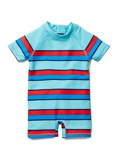 nylon/elastane short sleeve rashie jumpsuit with all over multicoloured stripe print and back zip opening