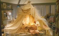 "The Holiday Mill House girls bedroom tent from the movie, ""The Holiday""."