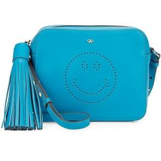Anya Hindmarch Smiley Leather Crossbody Pouch ($400) ❤ liked on Polyvore featuring bags, handbags, shoulder bags, bright blue, leather man bags, shoulder handbags, leather hand bags, leather shoulder bag and blue leather purse