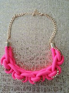 TRENDY HOT PINK ROPE NECKLACE WITH GOLD EARRINGS BRAND NEW #Chain