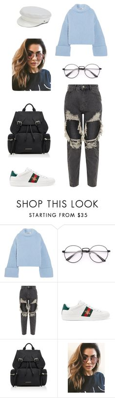 """""""Untitled #983"""" by gigi3646 ❤ liked on Polyvore featuring Jil Sander, Gucci, Burberry, MINKPINK and Manokhi"""