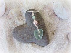 Seaglass Jewelry Heart Neckace with Swarovski by WelcomeJewelry,