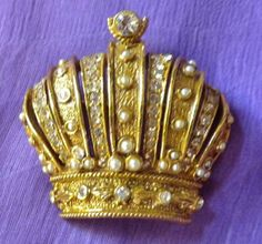 Crown Brooch/Pin, Marked ART, After 1955, Rhinestones/Pearls, Gold Tone, Figural #ART
