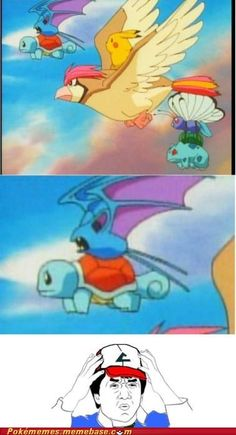 What I also realized looking at this is that Bulbasaur is strapped to Butterfree via his vine whip!