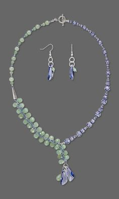 Jewelry Design - Single-Strand Necklace and Earring Set with Green Aventurine Gemstone Beads, Swarovski® Crystals and Silver-Plated Brass Cone - Fire Mountain Gems and Beads