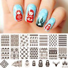 $2.59 Russian Doll Sweater Pattern Nail Art Stamp Template Image Plate BORN PRETTY BP-L018 12.5 x 6.5cm - BornPrettyStore.com
