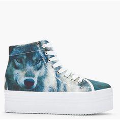 Jeffrey Campbell Jeffrey Campbell Blue Homg Wolf Print Platform Sneakers - LoLoBu