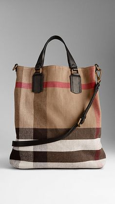 Medium Brit Check Tote Bag | Burberry- been eyeing this for a while and finally bit the bullet. great for my books or a casual on the go bag. the width is perfect but I wish the length was a little shorter. still love it though