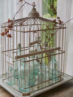 Ideas bird cage diy birdhouses vintage birdcage for 2019 Vintage Birds, Vintage Shabby Chic, Shabby Chic Decor, Vintage Decor, Vintage Birdcage, Birdcage Decor, Old Bottles, Vintage Bottles, Antique Bird Cages
