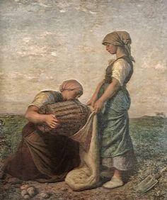 "Jules Breton, French, ""Femmes des Pommes de Terre"" (Women Harvesting Potatoes), Oil on canvas, Gift of Arthur I. Jules Breton, Digital Museum, Collaborative Art, Oil Painting Reproductions, Realism Art, Paintings I Love, Art Google, Female Art, Art History"