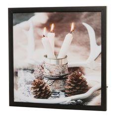 Een fraaie LED canvas schilderij met een afbeelding van dinerkaarsen #kerstdecoratie #wanddecoratie #candlelight