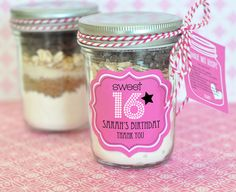 Complement your sweet with the personalized sweet 16 or 15 mini mason jars. The adorable mason jar are easy to create edible party favor with loose-leaf tea, candy , homemade spices or any special. Sweet 16 Party Favors, Edible Party Favors, Sweet 16 Parties, Birthday Favors, Birthday Decorations, Unique Wedding Favors, Wedding Party Favors, Rustic Wedding, Wedding Ideas
