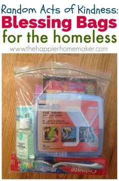 Teaching Thanksgiving: Blessing Bags are an easy way to help the homeless, I keep some in my car trunk all the time!