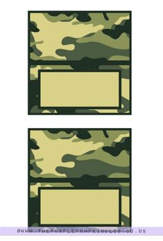 Another free printable coming your way today to use at an Army Themed Party…Camo Food Labels! Army Themed Birthday, Army Birthday Parties, Army's Birthday, Hunting Birthday, Hunting Party, Hunting Camo, Birthday Ideas, Paintball Party, Nerf Party