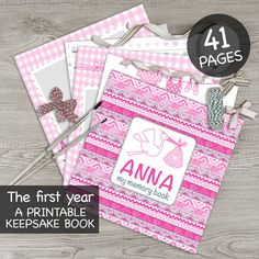 DIGITAL printable personalised baby girl memory book / Baby album / First year book / Baby record book / Baby journal / Baby diary / tribal