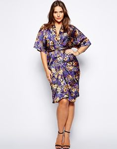 $75.28 | ASOS CURVE Exclusive Kimono Dress In Oriental Print } 3/17/2014
