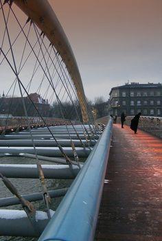 Krakow - Cycle and pedestrian bridge across River Wisla in Kazimierz