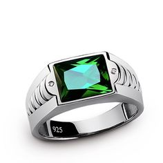 Emerald Men's Ring, 925 Sterling Silver Signet Ring with Black Accent Stones, Green Mens Gemstone Ring, Silver Emerald Ring Mens Emerald Rings, Mens Gemstone Rings, Sterling Silver Diamond Rings, Mens Silver Rings, Silver Man, Emerald Stone, 925 Silver, Elegant Engagement Rings, Designer Engagement Rings