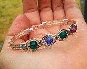 Wire Wrapped Handmade 14KT and Sterling Silver Personalized Birthstone Bracelet Mothers Bracelet