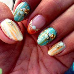 I am addicted to #gelnails #nailart #japanesenailart #gel #summer #blue #orange