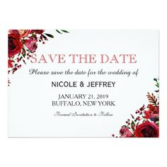 #country - #Red Fall Floral Flower Wedding Save the Date Card