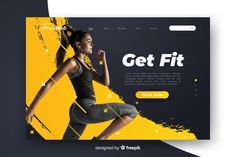 Sport get fit landing page with photo Free Vector Web Design, Page Design, Fotos Free, Magazine Ideas, Strength Training Program, Training Programs, Sports Graphic Design, Sport Design, Sports Website