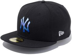 Blue Gradient Logo New York Yankees 59Fifty Fitted Cap by NEW ERA x MLB The Bronx Bombers are offered up in slight remix. The Blue Gradient Logo New York Yankees 59Fifty fitted cap breaks down their iconic NY Lock up logo into 5 bands of color. Stacked monotone color range creates the appearance of gradient. This provides some subtle pop against the Black base.