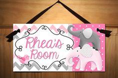 Grey and Pink Creatures Big and Small Girls Bedroom Baby Nursery Kids Bedroom DOOR SIGN Wall Art