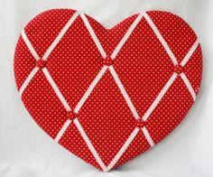 Fabric notice / pin / memo board, red spot heart shaped notice board by Notice Board Collection,