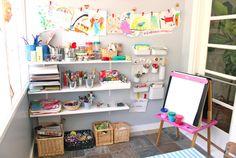 Art studio at home, home art, kids art corner, playroom design, art for Kids Art Corner, Kids Art Area, Kids Art Space, Kids Room Art, Art For Kids, Kids Bedroom, Small Space, Art Studio At Home, Home Art