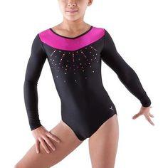ad21db33d93f Ginnastica e Danza Abbigliamento fitness,Danza - Body ginnastica bambina  nero-rosa paillettes DOMYOS