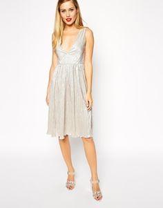 ASOS V Neck Foil Midi Dress at asos.com 42610a5dd