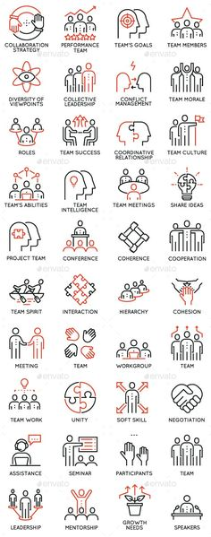 Team Work and Career Training Icons - People Characters