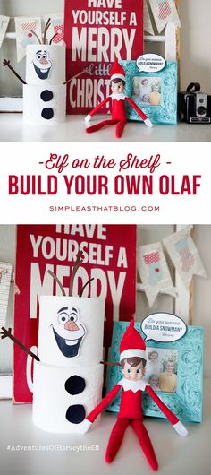 Elf on the Shelf Fun: Build Your Own Olaf Elf on the Shelf Fun Build Your Own Olaf out of toilet paper rolls! Printables included to make it so easy. Source by rebeccacooper Christmas Elf, All Things Christmas, Christmas Crafts, Xmas, Christmas Countdown, Christmas Photos, Simple Christmas, Elf On The Shelf, Shelf Elf