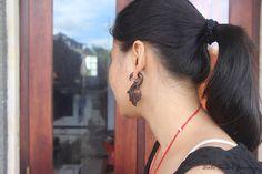 "Tribal Fake Gauge Wood Earring, Sono ""Sandhy"" Faux Gauge Tribal Earrings, Bali Handmade Wooden Earring #handmade #etsy"