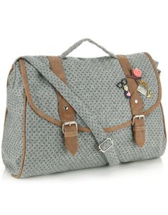 Grand sac cartable en tweed à pois   Gris   Accessorize