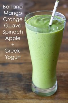 Green Machine Smoothie   2 bananas  1 cup frozen mango  1 orange, peeled and segmented  1/2 cup guava juice  1 large handful of raw spinach  1 apple, cored and cut into pieces  1/4 cup non fat greek yogurt  handful of ice  All ingredients available at Checkers .co.za