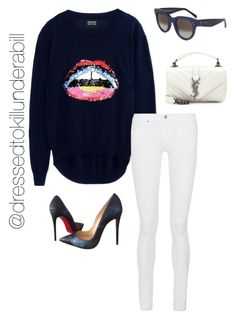 """""""Lots of lips"""" by nicolemorris87 on Polyvore featuring Markus Lupfer, Christian Louboutin, Frame Denim, CÉLINE, Yves Saint Laurent, women's clothing, women's fashion, women, female and woman"""