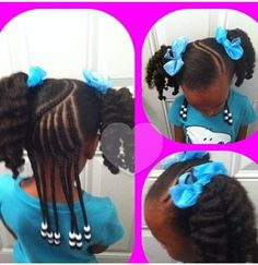 Curved braid/twist across the head to dress up a basic set of Afro puffs. To dress up further, do a quick twist out on the puffs.
