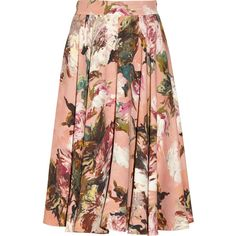 Dolce & Gabbana baby-pink skirt. Crepe. Multicolored painted rose print. Concealed hook and zip fastening at back. 100% rayon. Dry clean. Fits true to size, ta…