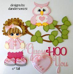 Girl Hoo Loves You Paper Piecing PreMade 4 Border Scrapbook Album danderson651