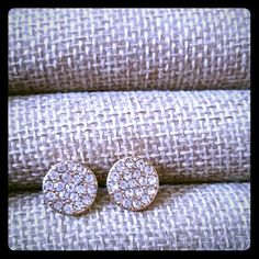 Golden flat paved studs Super cute. A must have. Great quality Jewelry Earrings