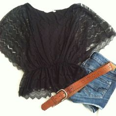 Black Lace Butterfly Top Lace butterfly top that has an elastic waist. Great condition, and price is NEGOTIABLE.  everything must go!! Old Navy Tops