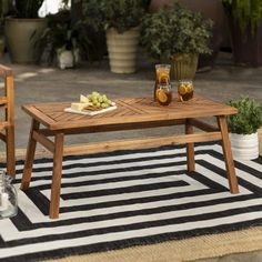 With an acacia wood construction, this patio coffee table is perfect for any outdoor space, whether in your backyard or on your deck, patio, or porch. In a stained finish featuring a chevron designed table top for a modern and transitional style. Pair next to your outdoor chairs or loveseat to enjoy coffee, tea, or hot Coffee Table Pier 1, Solid Wood Coffee Table, Outdoor Coffee Tables, Outdoor Chairs, Wood Patio, Patio Table, Deck Patio, Small Backyard Landscaping, Small Patio
