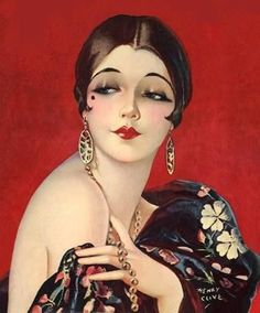 The typical 1920s makeup look consists of sad eyebrows, bold lips and eyes, rosy cheeks, and pale matte skin.